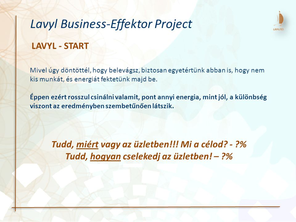 LAVYL - START Mivel úgy döntöttél, hogy belevágsz, biztosan egyetértünk abban is, hogy nem kis munkát, és energiát fektetünk majd be.