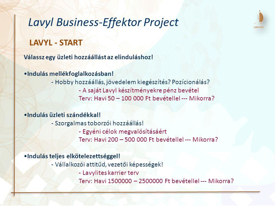 LAVYL - START Lavyl Business-Effektor Project Válassz egy üzleti hozzáállást az elinduláshoz! Indulás mellékfoglalkozásban! - Hobby hozzáállás, jövede