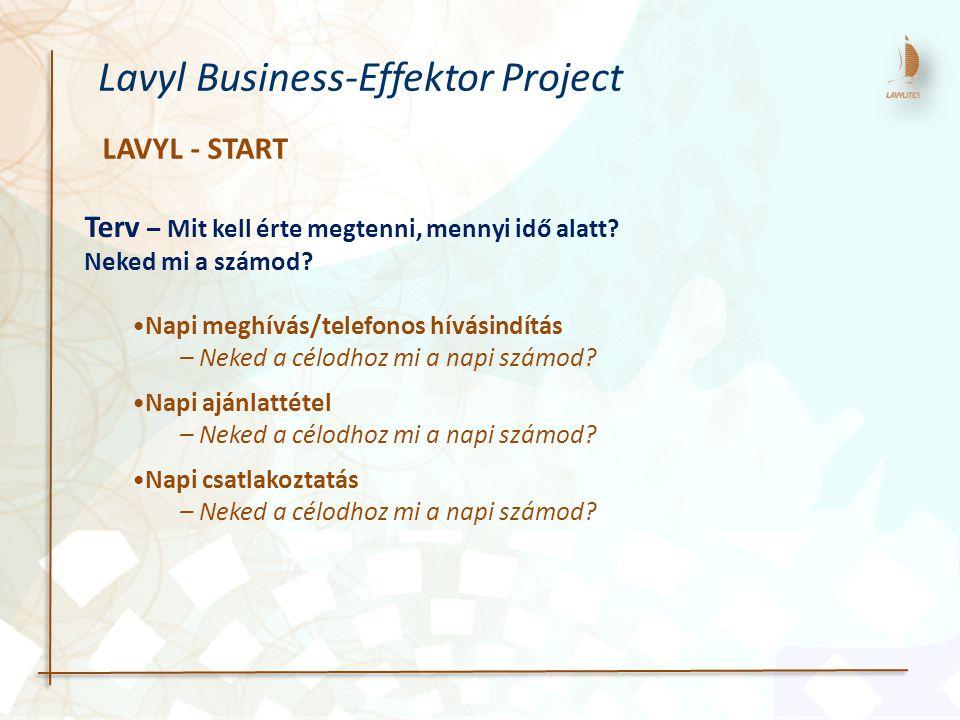 LAVYL - START Lavyl Business-Effektor Project Terv – Mit kell érte megtenni, mennyi idő alatt? Neked mi a számod? Napi meghívás/telefonos hívásindítás