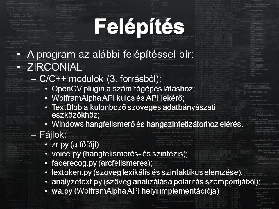 A program az alábbi felépítéssel bír: ZIRCONIAL –C/C++ modulok (3. forrásból): OpenCV plugin a számítógépes látáshoz; WolframAlpha API kulcs és API le