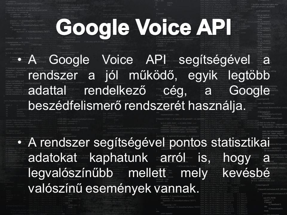 A Google Voice API segítségével a rendszer a jól működő, egyik legtöbb adattal rendelkező cég, a Google beszédfelismerő rendszerét használja. A rendsz