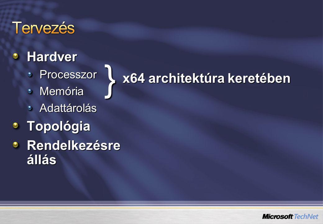 HardverProcesszorMemóriaAdattárolásTopológia Rendelkezésre állás } x64 architektúra keretében