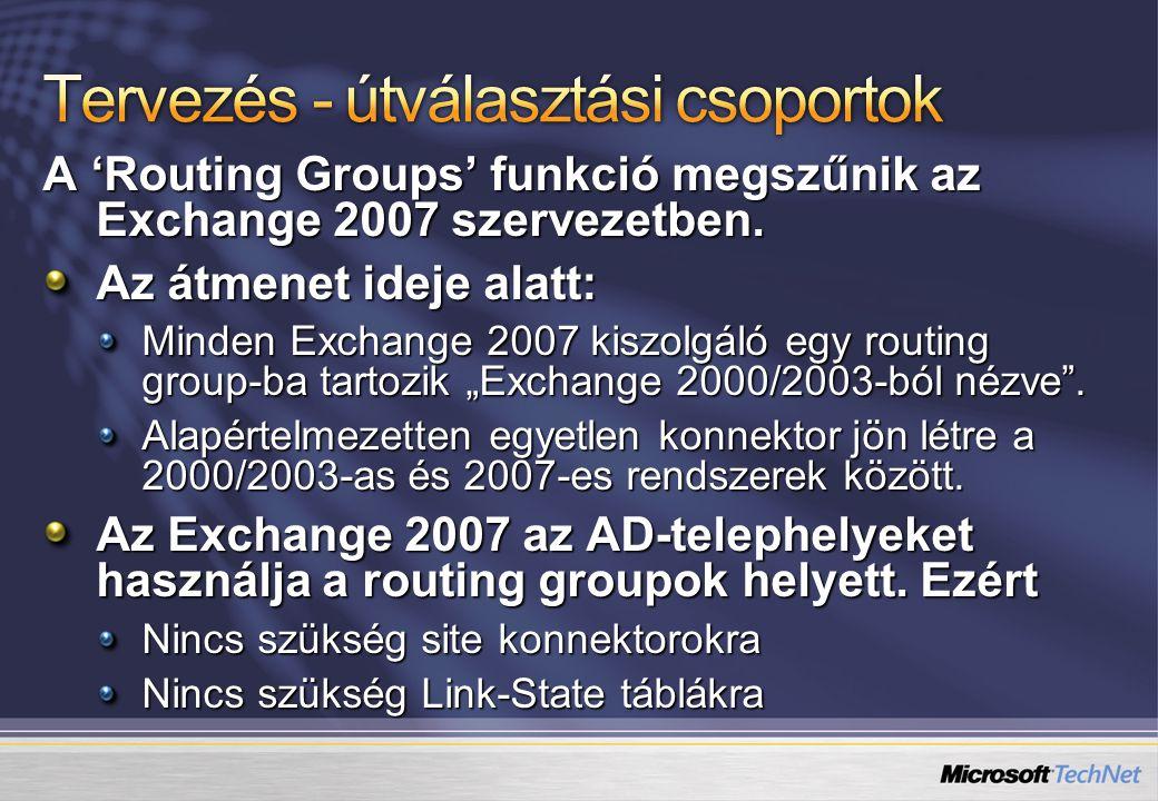 A 'Routing Groups' funkció megszűnik az Exchange 2007 szervezetben.