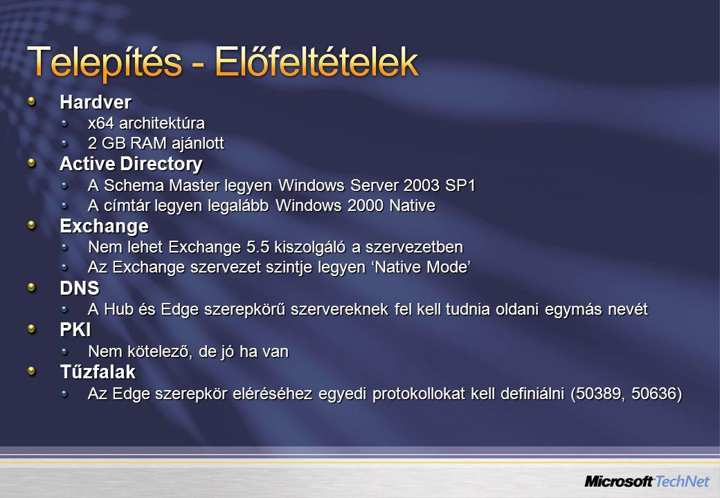 Hardver x64 architektúra 2 GB RAM ajánlott Active Directory A Schema Master legyen Windows Server 2003 SP1 A címtár legyen legalább Windows 2000 Native Exchange Nem lehet Exchange 5.5 kiszolgáló a szervezetben Az Exchange szervezet szintje legyen 'Native Mode' DNS A Hub és Edge szerepkörű szervereknek fel kell tudnia oldani egymás nevét PKI Nem kötelező, de jó ha van Tűzfalak Az Edge szerepkör eléréséhez egyedi protokollokat kell definiálni (50389, 50636)