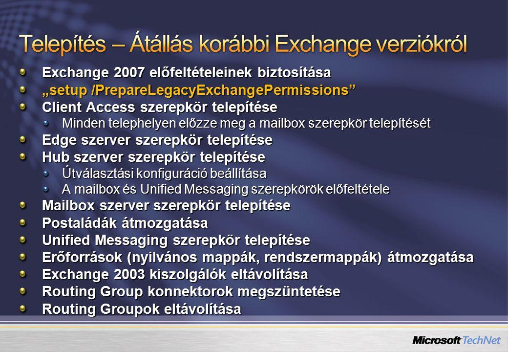 """Exchange 2007 előfeltételeinek biztosítása """"setup /PrepareLegacyExchangePermissions Client Access szerepkör telepítése Minden telephelyen előzze meg a mailbox szerepkör telepítését Edge szerver szerepkör telepítése Hub szerver szerepkör telepítése Útválasztási konfiguráció beállítása A mailbox és Unified Messaging szerepkörök előfeltétele Mailbox szerver szerepkör telepítése Postaládák átmozgatása Unified Messaging szerepkör telepítése Erőforrások (nyilvános mappák, rendszermappák) átmozgatása Exchange 2003 kiszolgálók eltávolítása Routing Group konnektorok megszüntetése Routing Groupok eltávolítása"""