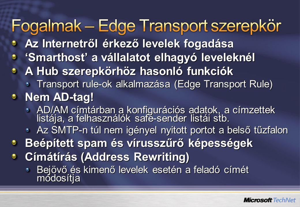 Minden kiszolgálónál: Windows Server 2003 SP1 vagy R2 x64 Edition Mailbox szerepkör: IIS, Com+, WWW Client Access szerepkör: WWW, RPC over HTTP Proxy, ASP.NET 2.0 Unified Messaging szerepkör: Microsoft Speech Service Microsoft Windows Media Encoder Microsoft Windows Media Audio Voice Codec MSXML 6.0 Hub Transport szerepkör: Nem szabad telepíteni az SMTP és NNTP szolgáltatásokat Edge Transport szerepkör: DNS Suffix Nem szabad telepíteni az SMTP és NNTP szolgáltatásokat AD/AM