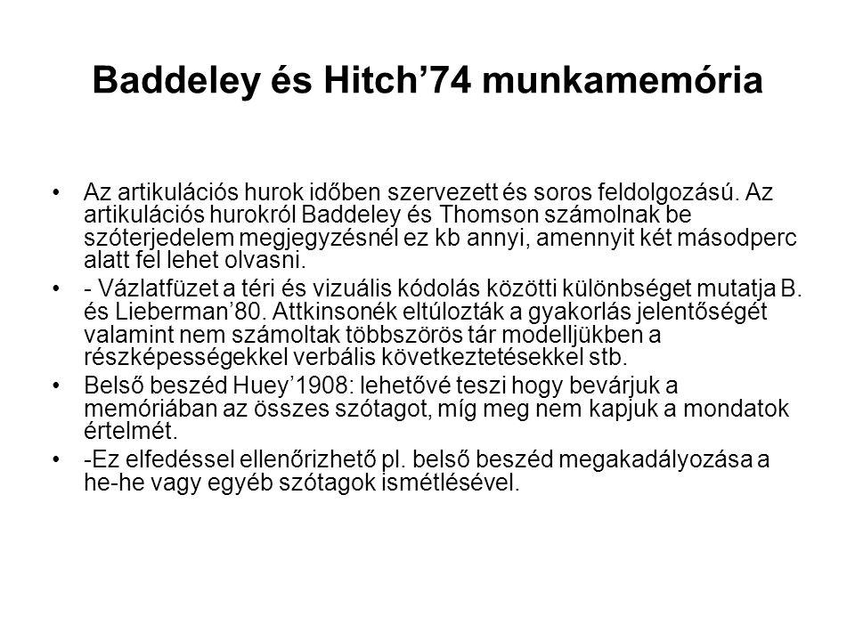 Baddeley és Hitch'74 munkamemória Az artikulációs hurok időben szervezett és soros feldolgozású. Az artikulációs hurokról Baddeley és Thomson számolna