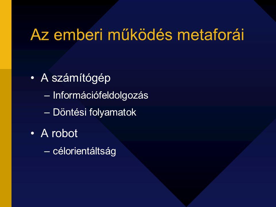 Az emberi működés metaforái A számítógép –Információfeldolgozás –Döntési folyamatok A robot –célorientáltság