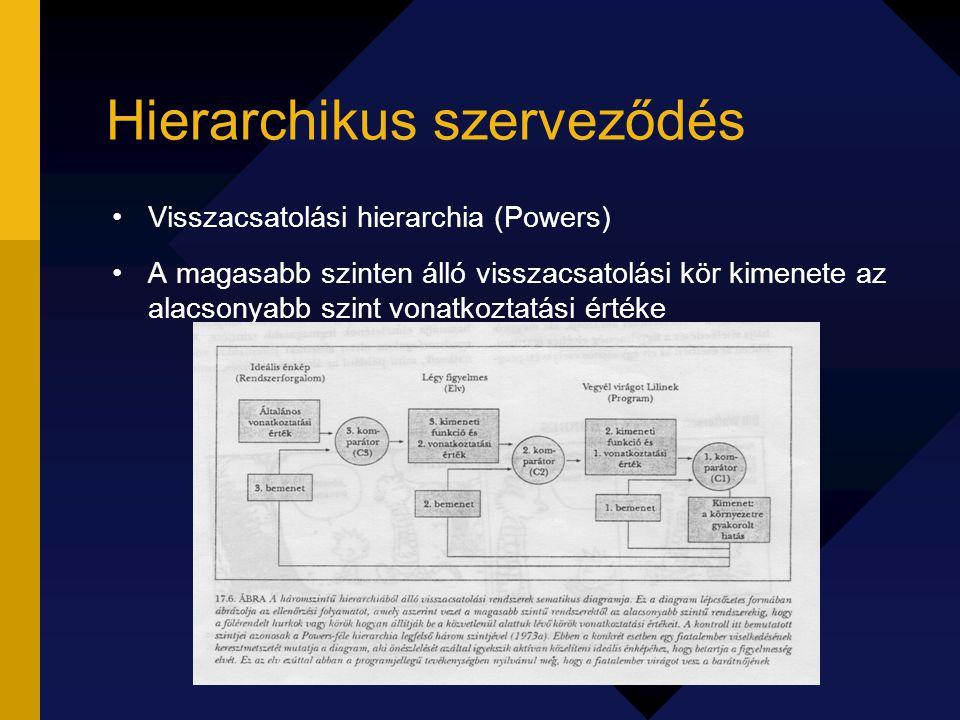 Hierarchikus szerveződés Visszacsatolási hierarchia (Powers) A magasabb szinten álló visszacsatolási kör kimenete az alacsonyabb szint vonatkoztatási