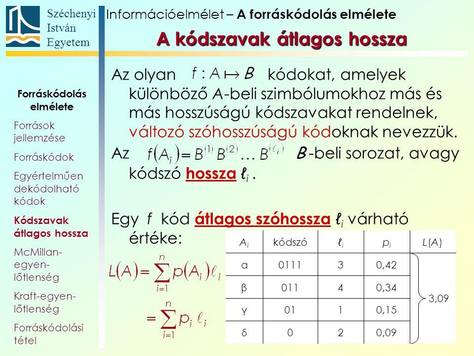 Széchenyi István Egyetem 22 AiAi kódszóℓiℓi pipi L(A)L(A) α011130,42 3,09 β01140,34 γ0110,15 δ020,09 Az olyan kódokat, amelyek különböző A-beli szimbó