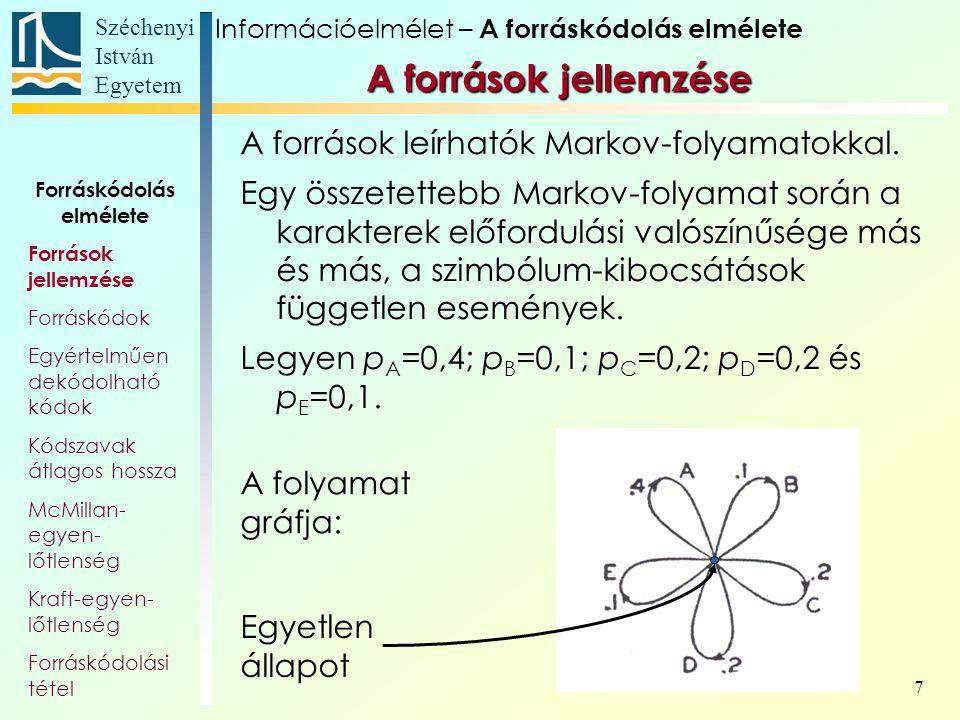 Széchenyi István Egyetem 8 Még összetettebb Markov-folyamatok során nem csak a karakterek előfordulási valószínűsége más és más, hanem a szimbólum-kibocsátások sem független események.
