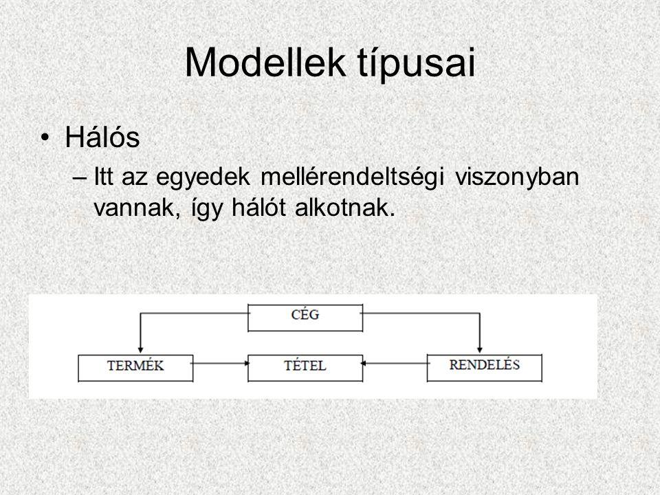Modellek típusai Hálós –Itt az egyedek mellérendeltségi viszonyban vannak, így hálót alkotnak.