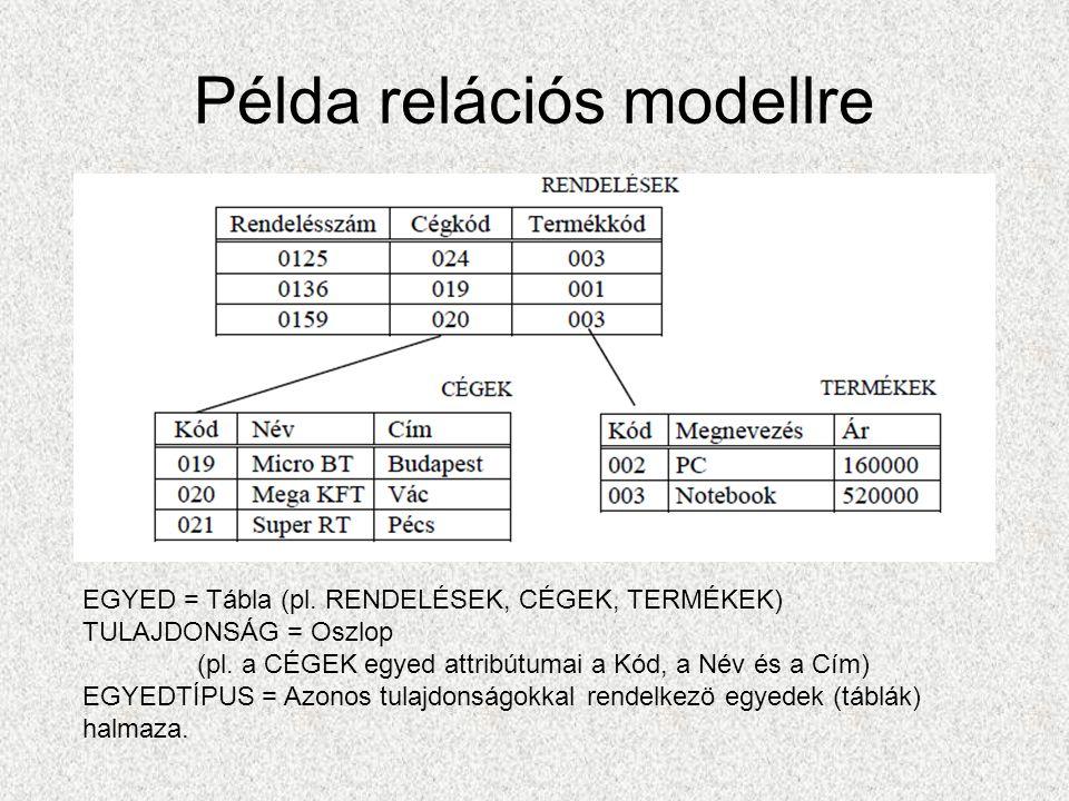 Példa relációs modellre EGYED = Tábla (pl. RENDELÉSEK, CÉGEK, TERMÉKEK) TULAJDONSÁG = Oszlop (pl.