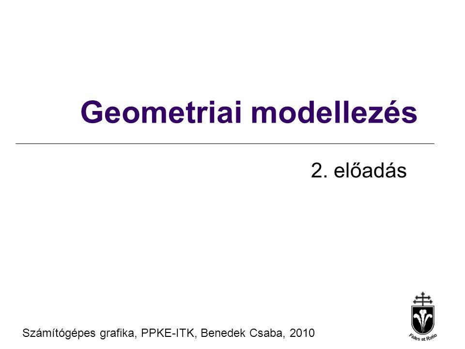 Számítógépes Grafika 2010, PPKE ITK, Benedek Csaba Tanagyag forrás ® Szirmay-Kalos László, BME Kvadratikus felületek x T A x = 0x T = [x, y, z, 1] A koordináták legfeljebb másodfokon gömb, ellipszoid, sík, paraboloid, hiperboloid, hengerfelület,...