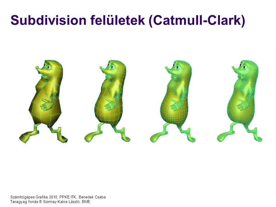 Számítógépes Grafika 2010, PPKE ITK, Benedek Csaba Tanagyag forrás ® Szirmay-Kalos László, BME Subdivision felületek (Catmull-Clark)