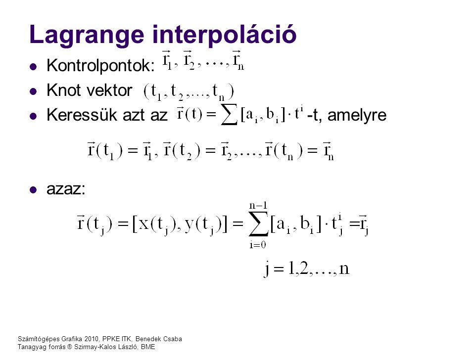 Számítógépes Grafika 2010, PPKE ITK, Benedek Csaba Tanagyag forrás ® Szirmay-Kalos László, BME Bezier görbe OpenGL implementációja void glMap1{fd}(Glenum target, TYPE u1, TYPE u2, GLInt stride, GLInt order, const TYPE * points) Egydimenziós leképezés, target: mit reprezentálnak a kontrollpontok: modelltérbeli pontot ( GL_MAP1_VERTEX_3 ) vagy színt ( GL_MAP1_COLOR_4 ) stb u1, u2 : paramétertartomány (nálunk [0,1]) stride : nálunk a pontok dimenziója (itt 3) order : görbe rendje (kpontok száma+1) points : kontrollpontokat tartalmazó tömb Előtte engedélyezni kell az opciót: glEnable(GL_MAP1_VERTEX_3);
