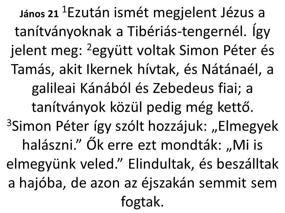 János 21 1 Ezután ismét megjelent Jézus a tanítványoknak a Tibériás-tengernél. Így jelent meg: 2 együtt voltak Simon Péter és Tamás, akit Ikernek hívt