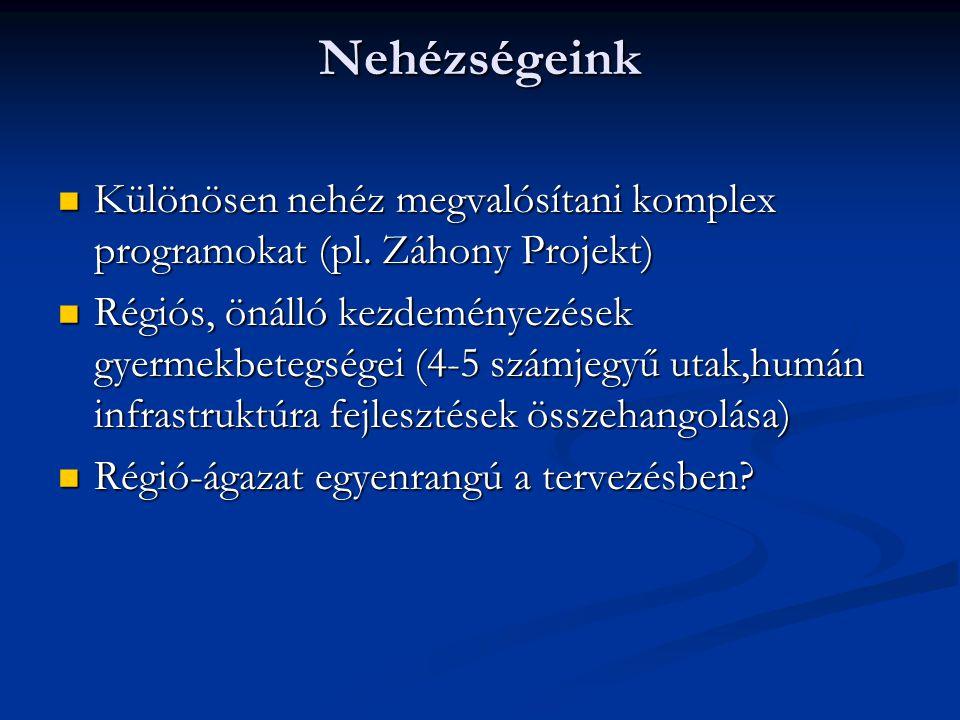 Nehézségeink Különösen nehéz megvalósítani komplex programokat (pl.