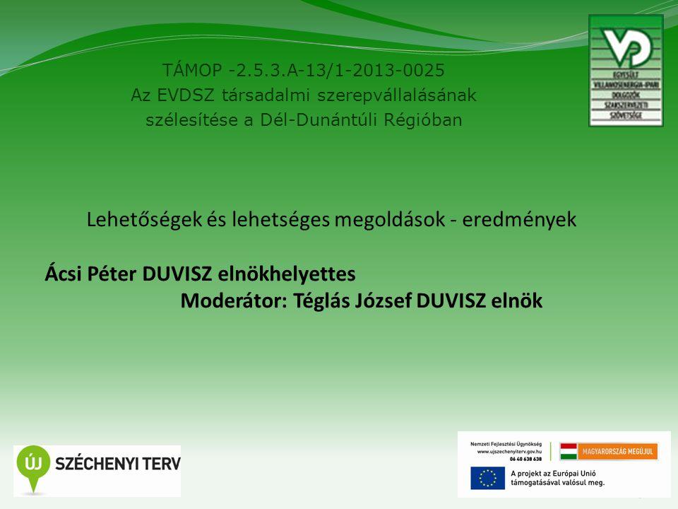 TÁMOP -2.5.3.A-13/1-2013-0025 Az EVDSZ társadalmi szerepvállalásának szélesítése a Dél-Dunántúli Régióban 5 Lehetőségek és lehetséges megoldások - ere