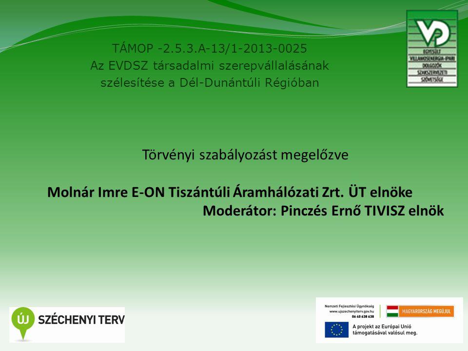TÁMOP -2.5.3.A-13/1-2013-0025 Az EVDSZ társadalmi szerepvállalásának szélesítése a Dél-Dunántúli Régióban 6 Törvényi szabályozást megelőzve Molnár Imr