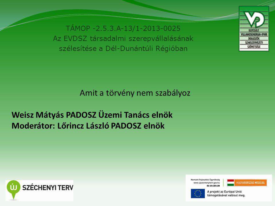 TÁMOP -2.5.3.A-13/1-2013-0025 Az EVDSZ társadalmi szerepvállalásának szélesítése a Dél-Dunántúli Régióban 8 Amit a törvény nem szabályoz Weisz Mátyás