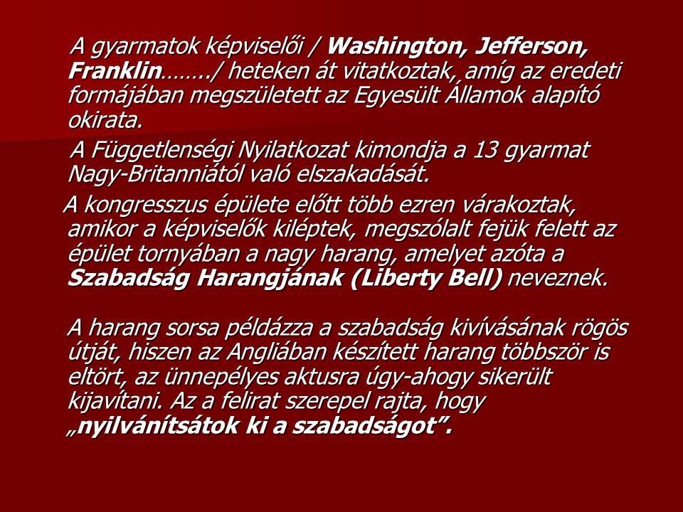 A gyarmatok képviselői / Washington, Jefferson, Franklin……../ heteken át vitatkoztak, amíg az eredeti formájában megszületett az Egyesült Államok alapító okirata.