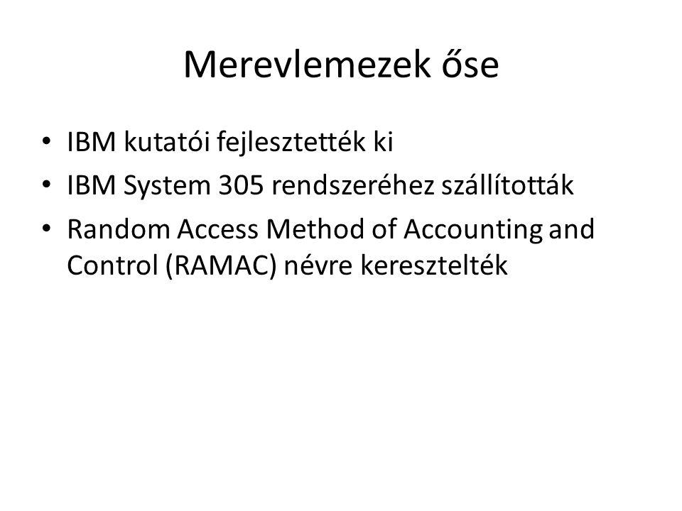 Merevlemezek őse IBM kutatói fejlesztették ki IBM System 305 rendszeréhez szállították Random Access Method of Accounting and Control (RAMAC) névre keresztelték