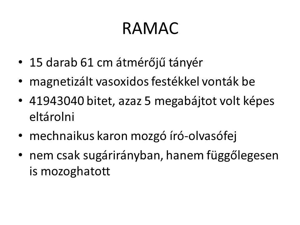 RAMAC 15 darab 61 cm átmérőjű tányér magnetizált vasoxidos festékkel vonták be 41943040 bitet, azaz 5 megabájtot volt képes eltárolni mechnaikus karon mozgó író-olvasófej nem csak sugárirányban, hanem függőlegesen is mozoghatott