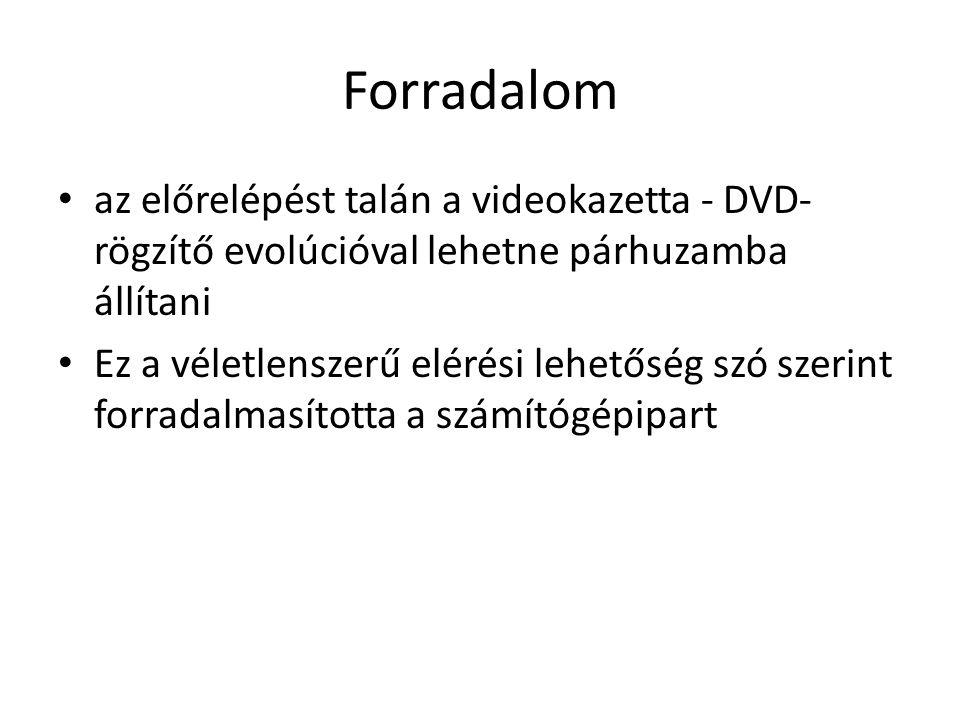 Forradalom az előrelépést talán a videokazetta - DVD- rögzítő evolúcióval lehetne párhuzamba állítani Ez a véletlenszerű elérési lehetőség szó szerint forradalmasította a számítógépipart