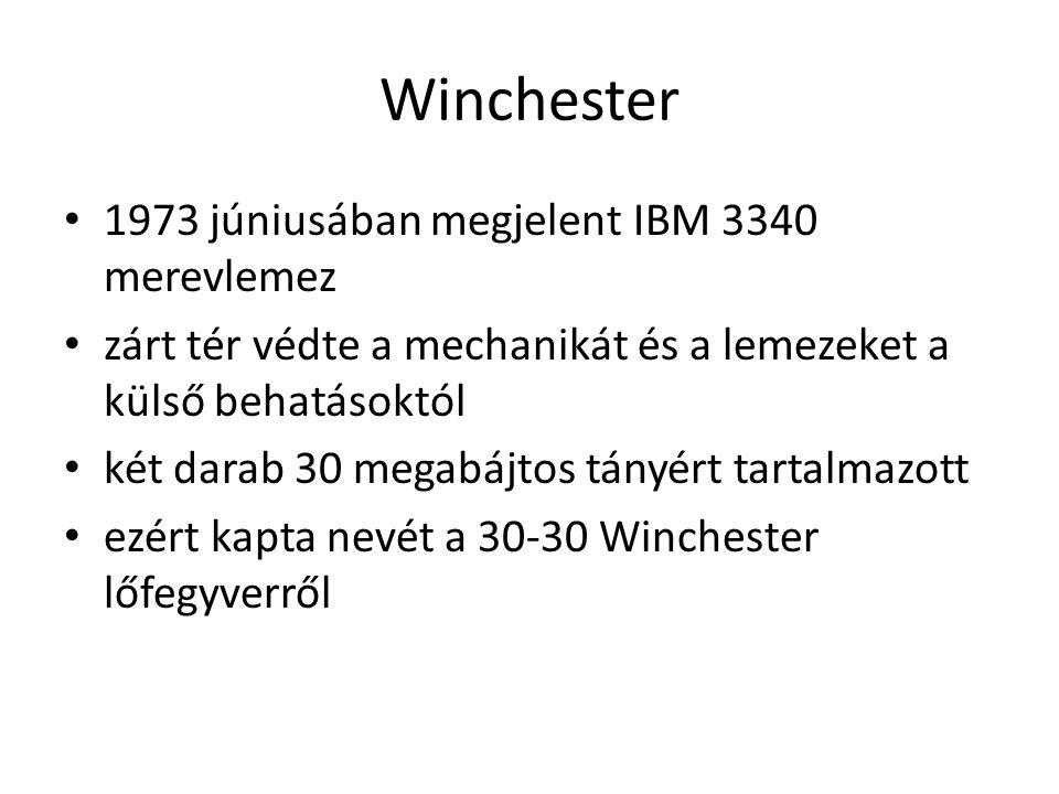 Winchester 1973 júniusában megjelent IBM 3340 merevlemez zárt tér védte a mechanikát és a lemezeket a külső behatásoktól két darab 30 megabájtos tányért tartalmazott ezért kapta nevét a 30-30 Winchester lőfegyverről