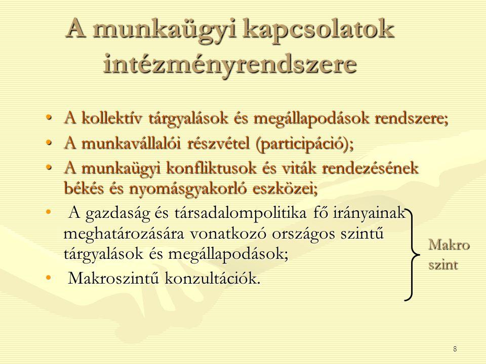 8 A munkaügyi kapcsolatok intézményrendszere A kollektív tárgyalások és megállapodások rendszere;A kollektív tárgyalások és megállapodások rendszere;