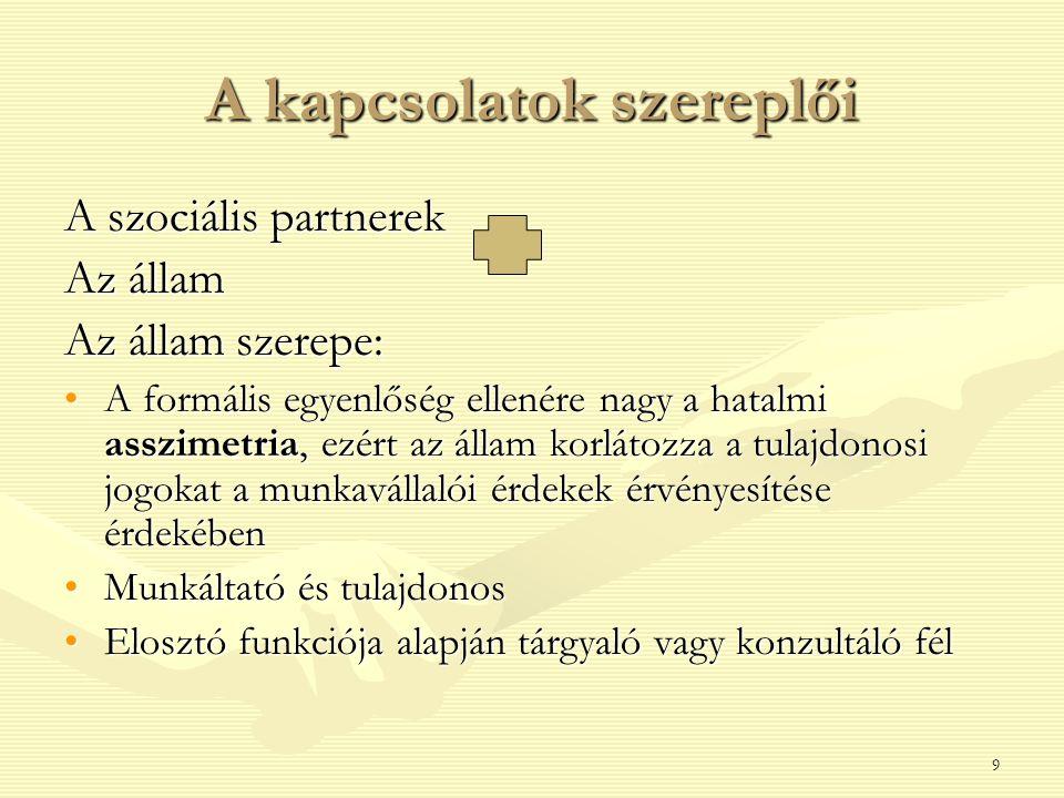 9 A kapcsolatok szereplői A szociális partnerek Az állam Az állam szerepe: A formális egyenlőség ellenére nagy a hatalmi asszimetria, ezért az állam k
