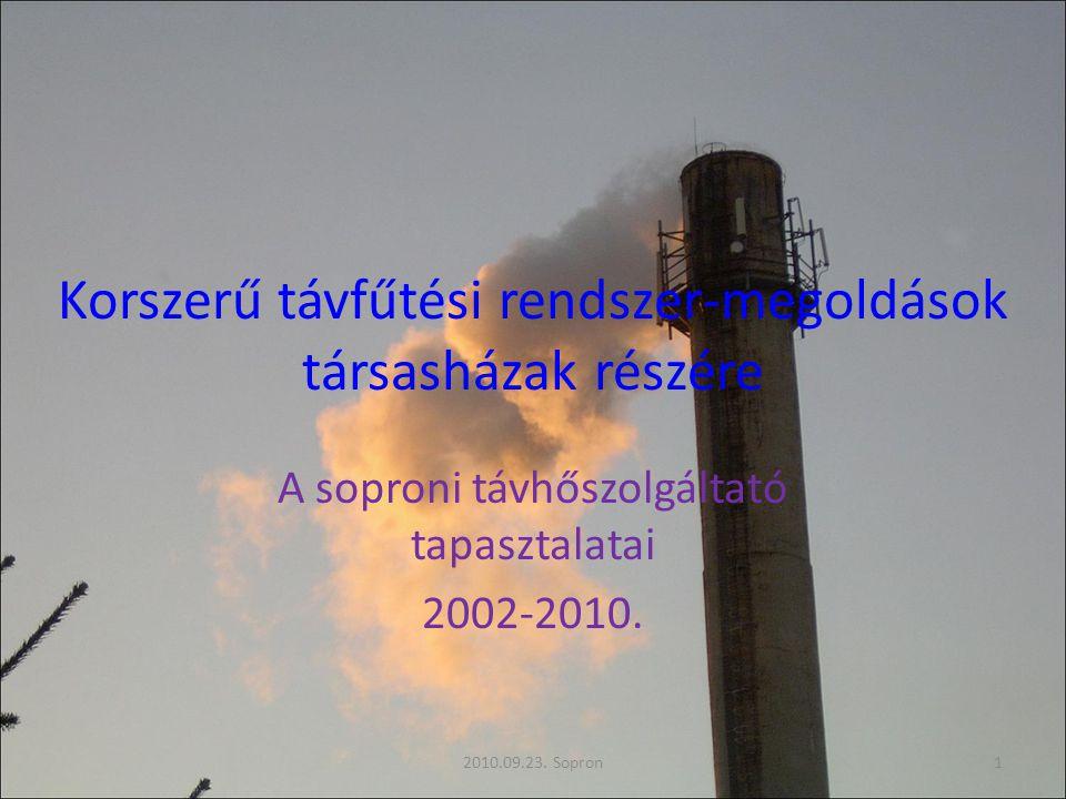 Korszerű távfűtési rendszer-megoldások társasházak részére A soproni távhőszolgáltató tapasztalatai 2002-2010. 2010.09.23. Sopron1