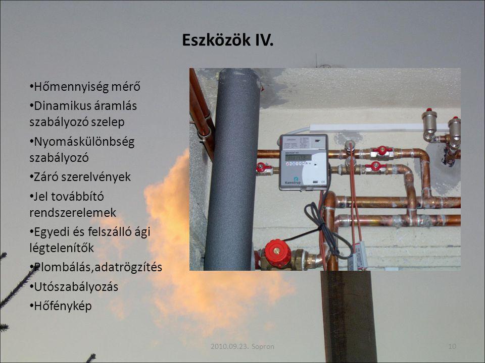 Eszközök IV. Hőmennyiség mérő Dinamikus áramlás szabályozó szelep Nyomáskülönbség szabályozó Záró szerelvények Jel továbbító rendszerelemek Egyedi és