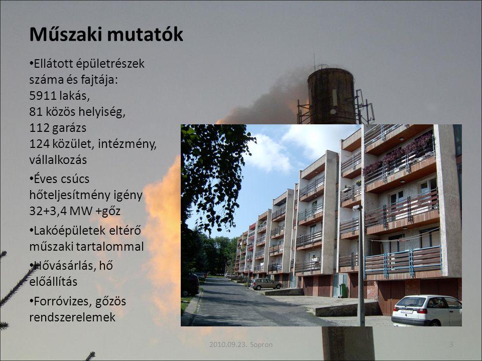 Műszaki mutatók Ellátott épületrészek száma és fajtája: 5911 lakás, 81 közös helyiség, 112 garázs 124 közület, intézmény, vállalkozás Éves csúcs hőteljesítmény igény 32+3,4 MW +gőz Lakóépületek eltérő műszaki tartalommal Hővásárlás, hő előállítás Forróvizes, gőzös rendszerelemek 2010.09.23.