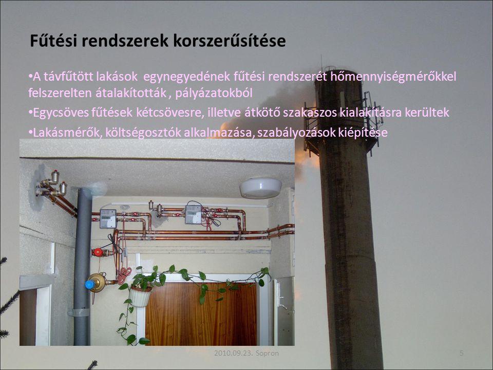 Fűtési rendszerek korszerűsítése A távfűtött lakások egynegyedének fűtési rendszerét hőmennyiségmérőkkel felszerelten átalakították, pályázatokból Egycsöves fűtések kétcsövesre, illetve átkötő szakaszos kialakításra kerültek Lakásmérők, költségosztók alkalmazása, szabályozások kiépítése 2010.09.23.