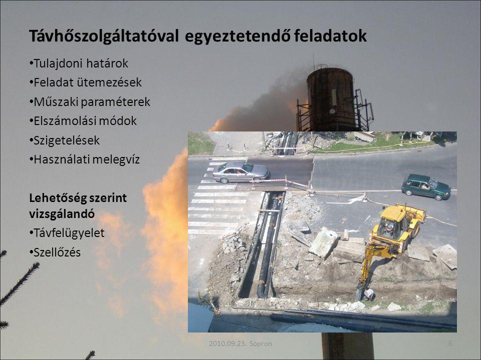 Távhőszolgáltatóval egyeztetendő feladatok Tulajdoni határok Feladat ütemezések Műszaki paraméterek Elszámolási módok Szigetelések Használati melegvíz Lehetőség szerint vizsgálandó Távfelügyelet Szellőzés 2010.09.23.