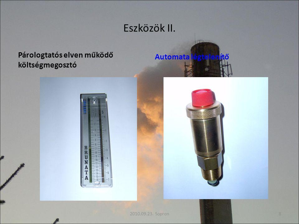 Eszközök II. Párologtatós elven működő költségmegosztó Automata légtelenítő 2010.09.23. Sopron8