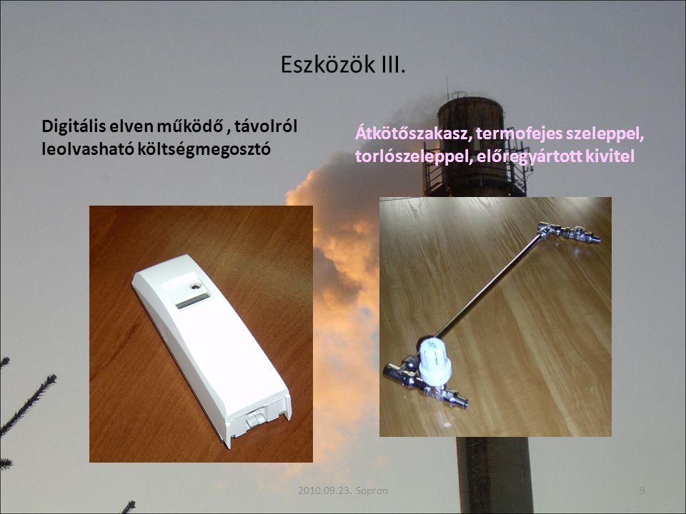 Eszközök III. Digitális elven működő, távolról leolvasható költségmegosztó Átkötőszakasz, termofejes szeleppel, torlószeleppel, előregyártott kivitel