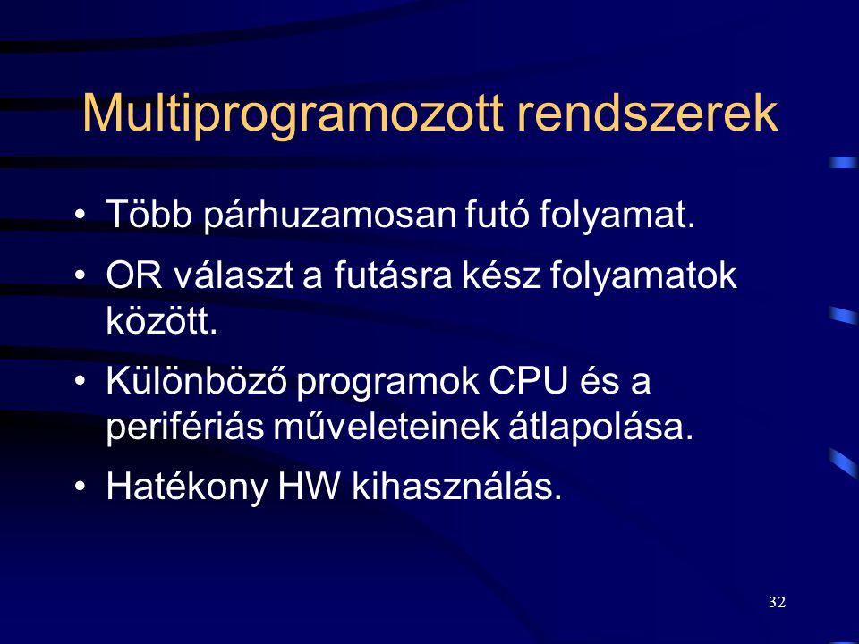 31 Multiprogramozott rendszerek A művelet vagy utasítás: – 1 többnyire oszthatatlan matematikai kifejezés. A folyamat (job, task, process): –műveletek