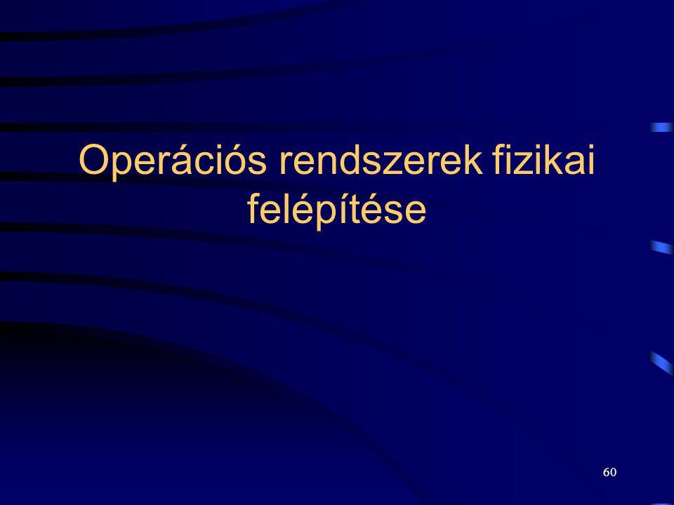59 Operációs rendszerek legfontosabb szolgáltatásai II. Optimális működés (HW kihasználás): –erőforrás foglalás, –rendszerinformációk gyűjtése, elszám