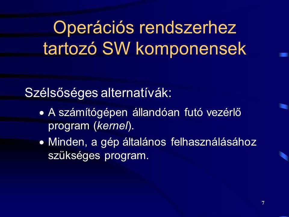 6 Az operációs rendszerek feladatai Program végrehajtási környezet biztosítása. Program fejlesztési környezet biztosítása. Erőforrás gazdálkodás. Vezé