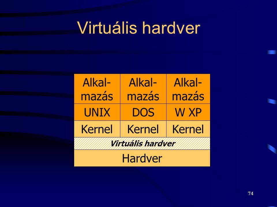 73 Alapvető szervezési elvek: Virtuális gép Virtuális gép (virtual machine, VM): –réteg szerkezet speciális használata, –HW teljes körű szimulációja (