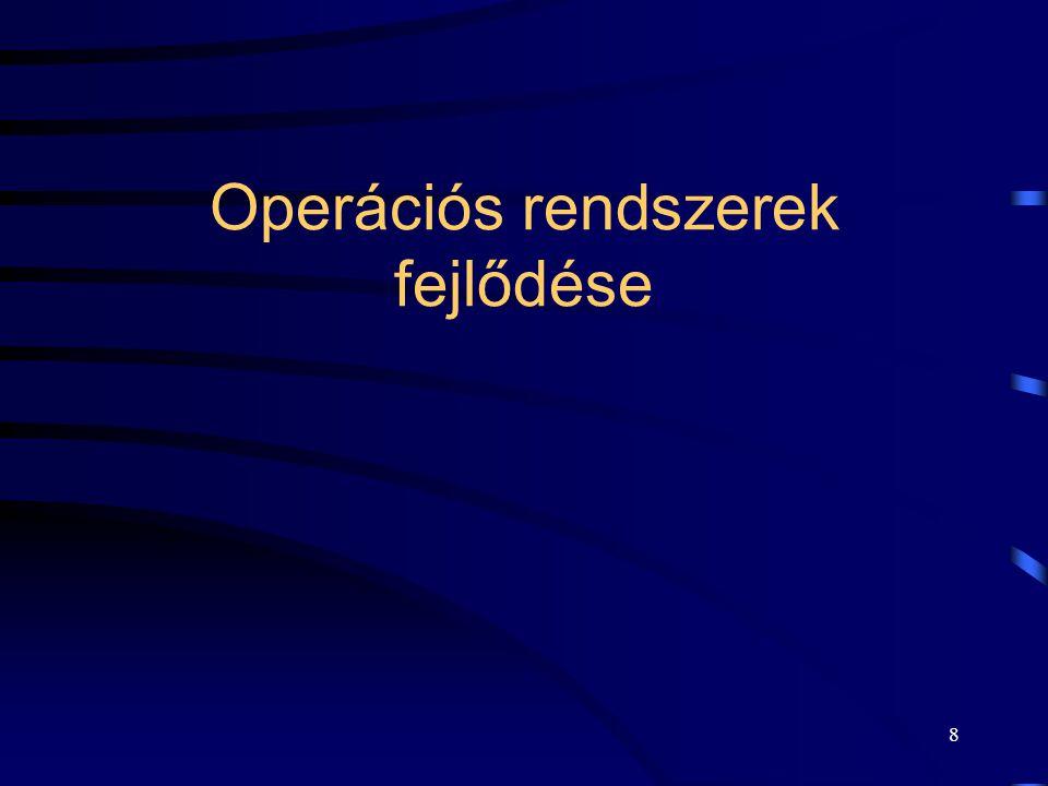 7 Operációs rendszerhez tartozó SW komponensek Szélsőséges alternatívák:  A számítógépen állandóan futó vezérlő program (kernel).  Minden, a gép ált