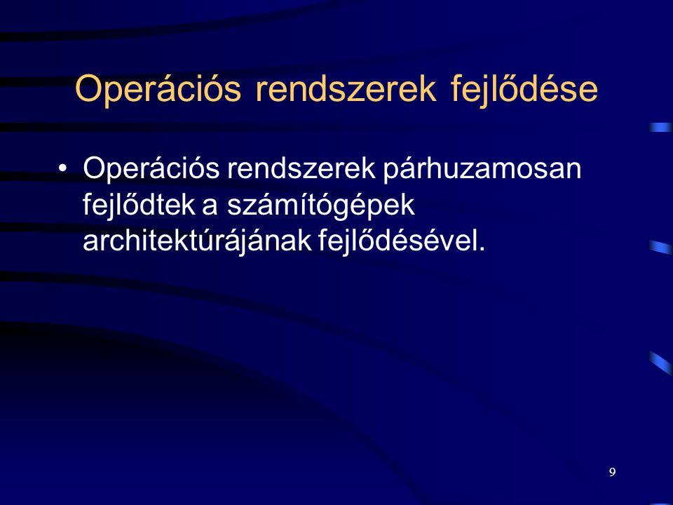 8 Operációs rendszerek fejlődése
