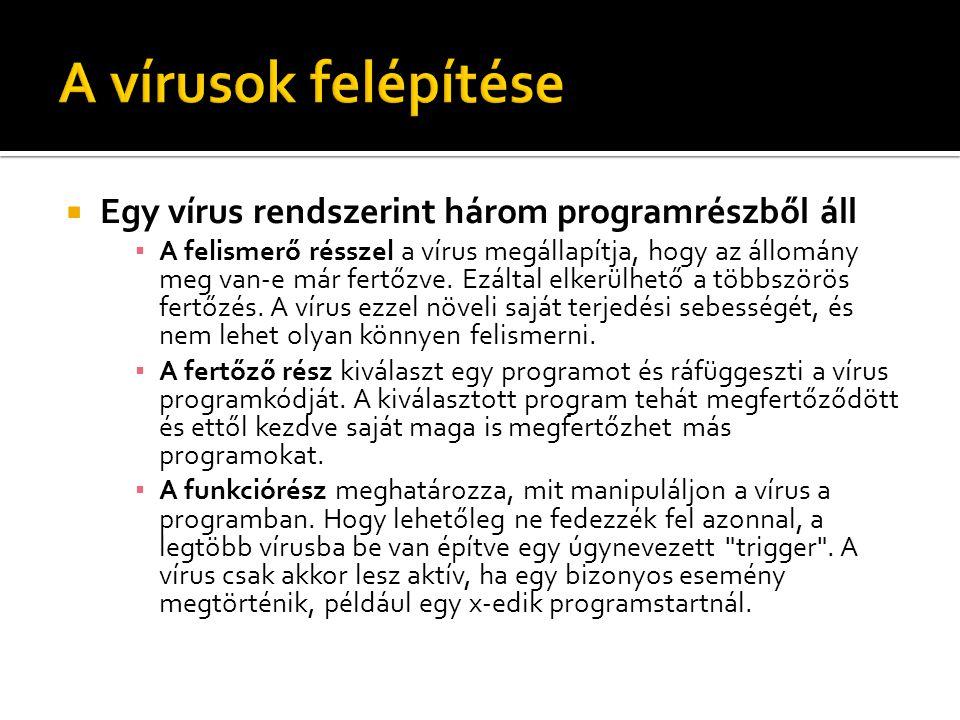  Egy vírus rendszerint három programrészből áll ▪ A felismerő résszel a vírus megállapítja, hogy az állomány meg van-e már fertőzve. Ezáltal elkerülh