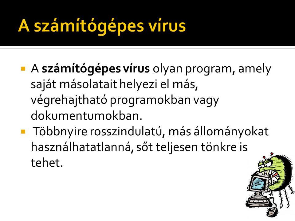  A számítógépes vírus olyan program, amely saját másolatait helyezi el más, végrehajtható programokban vagy dokumentumokban.  Többnyire rosszindulat