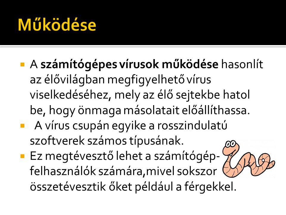  A számítógépes vírusok működése hasonlít az élővilágban megfigyelhető vírus viselkedéséhez, mely az élő sejtekbe hatol be, hogy önmaga másolatait el