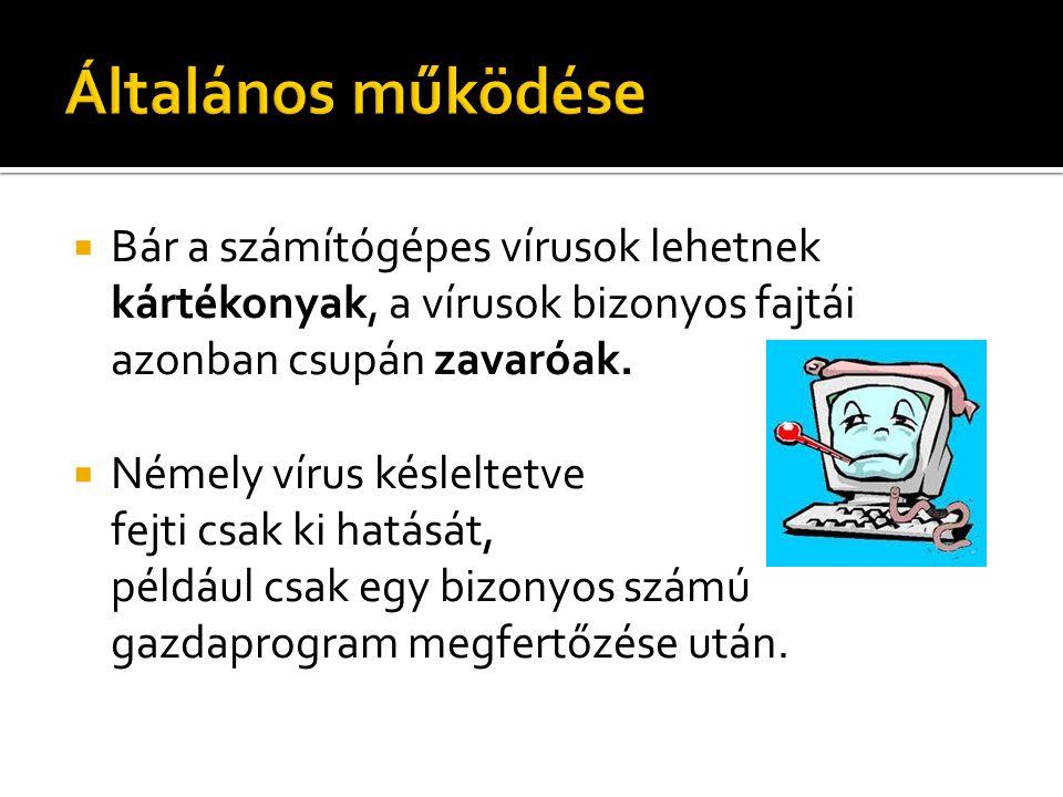  Bár a számítógépes vírusok lehetnek kártékonyak, a vírusok bizonyos fajtái azonban csupán zavaróak.  Némely vírus késleltetve fejti csak ki hatását