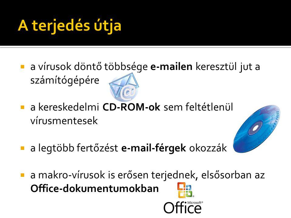  a vírusok döntő többsége e-mailen keresztül jut a számítógépére  a kereskedelmi CD-ROM-ok sem feltétlenül vírusmentesek  a legtöbb fertőzést e-mai
